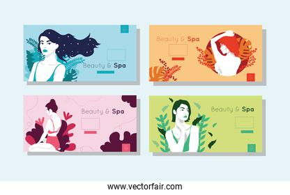 bundle of beauty and spa cards with woman figures