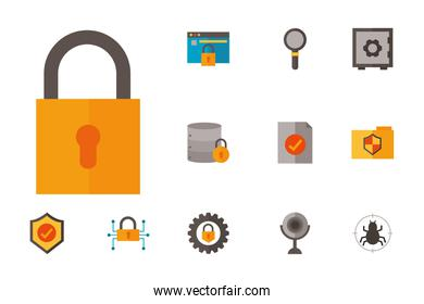 Icon set of security system vector design