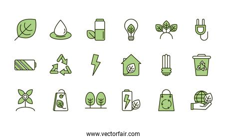 environment ecology icons collection line and fill