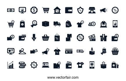 sale and shopping silhouette style icon set vector design