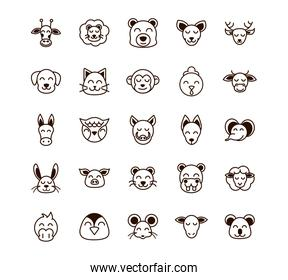 cute face animals cartoon icons set thick line