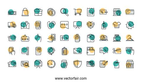 shopping commercial icons set line style dot color