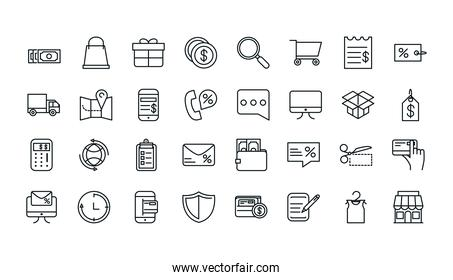 shopping commercial icons set line style