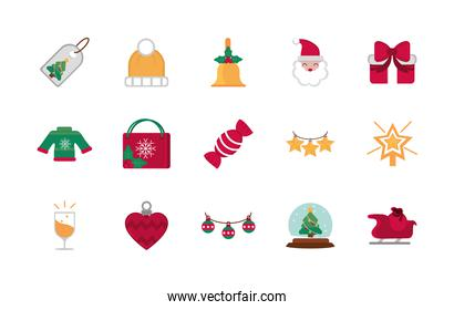 celebration decoration happy christmas icons collection