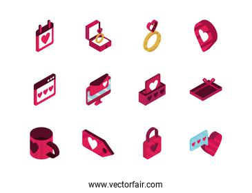 happy valentines day isometric icons collection