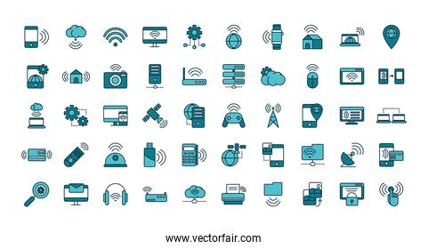 internet of things line and fill icons set
