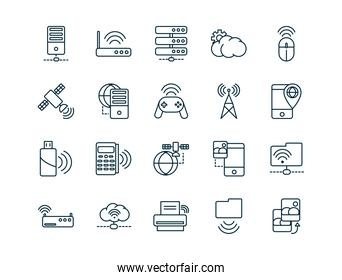 internet of things line icons set