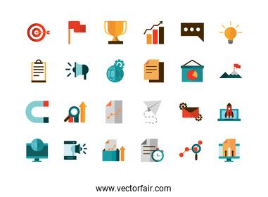 business strategy network icons set