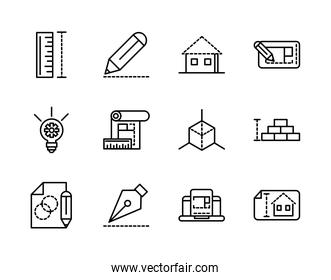 architecture construction tools icons set line