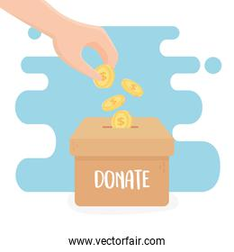 volunteering, help charity donate hand pushing coins in box