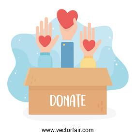 volunteering, help charity donate hands with hearts box