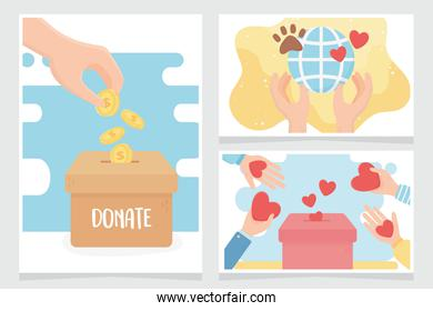 volunteering, help charity donate love protection care animal world cards