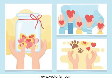 volunteering, help charity donation money protection love animals cards