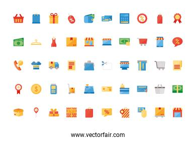Isolated shopping icon set vector design