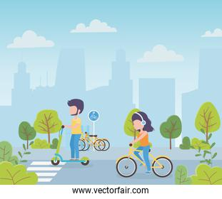 urban ecology man in kick scooter and woman riding bike route city