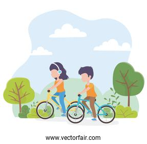 urban ecology young woman and man riding bikes in the park