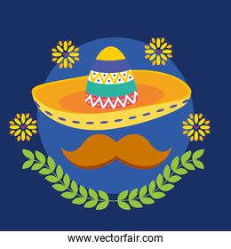 Mexican hat and mustache vector design