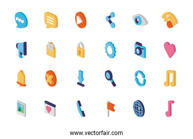 Isolated and isometric icon set vector design