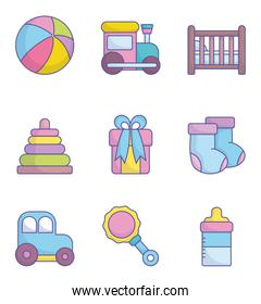 baby shower clothes toys accessories icons collection