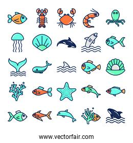 Isolated sea animals fill style icon set vector design
