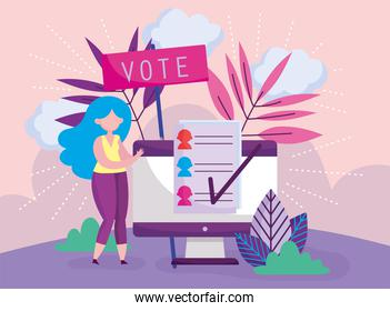 woman and computer online choose politics election democracy voting