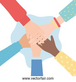 human rights, together hands diversity people