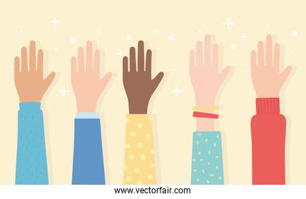 human rights, raised hands multicultural ethnic