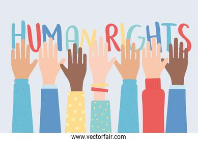 human rights, raised hands together community