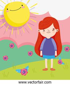 happy children day, little girl standing grass with flowers sunny
