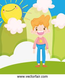 happy children day, little boy smiling character in the field sunny