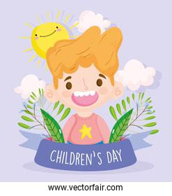 happy children day, smiling little boy with foliage sunny ribbon