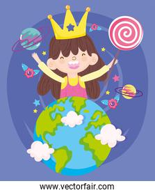 happy children day, smiling little girl with crown and lollipop