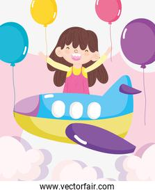 happy children day, little girl flying in the plane with balloons