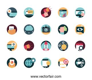 digital marketing advertising media icons set
