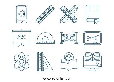 bundle of graduation and elearning icons
