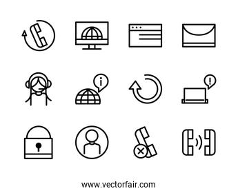 call center service business icons collection line