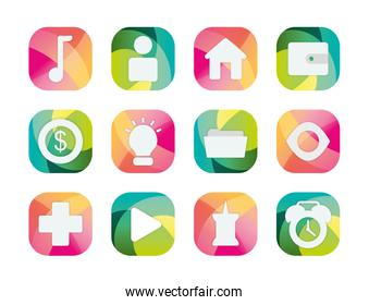 Social media and apps block flat style icon vector design