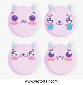 emojis kawaii cartoon cat comic faces set