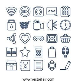 Social media and apps line style icon vector design