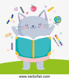 back to school cute cat reading book supplies education