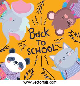 back to school cute animals education lettering poster