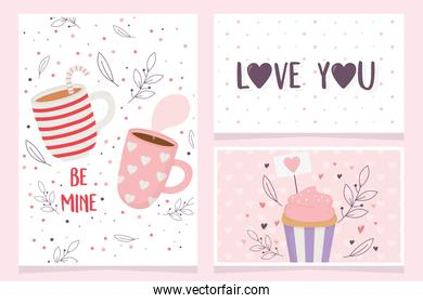 happy valentines day, sweet cupcake and chocolate cups dessert lettering cards