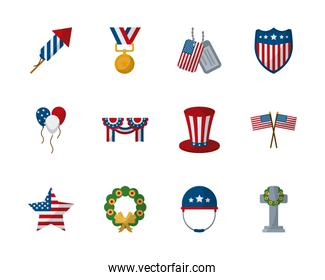 Memorial day flat style icon set vector design