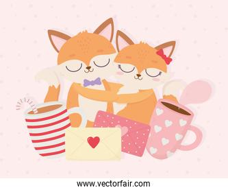 happy valentines day couple embraced foxes message coffee cups