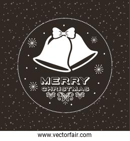 happy merry christmas card with bells hanging
