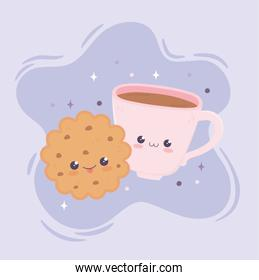 kawaii sweet cookie and coffee cup fast food cartoon
