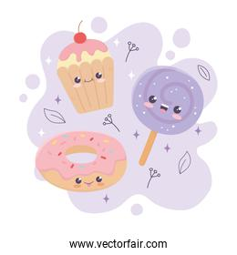 kawaii sweet donut lollipop and cupcake dessert cartoon