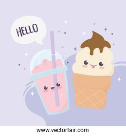 kawaii sweet dessert ice cream and cold drink cartoon