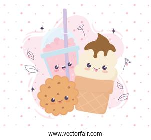 kawaii ice cream cookie and frappe with straw fast food cartoon