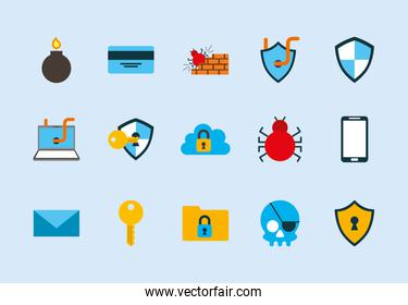 bundle of cyber security set icons